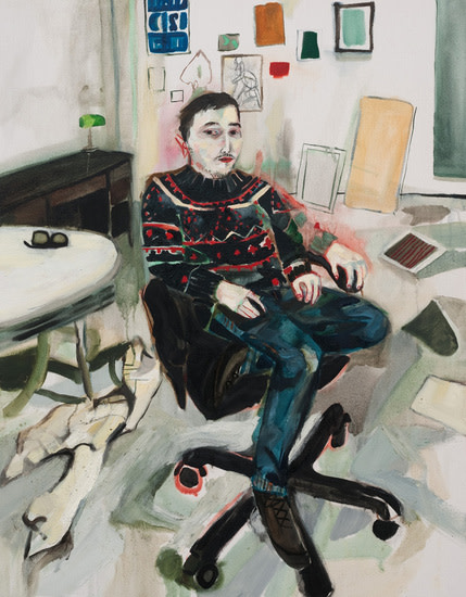 "Shanti in the Studio (Seasonal Sweater), 2011, Oil on canvas, 36"" x 28"""