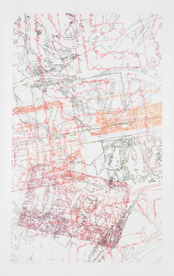 "#334 Drawing (Tracings from the L.A. River & ArcelorMittal Steel), 2011, Color pencil on trace Mylar, 112"" x 72"" paper size"