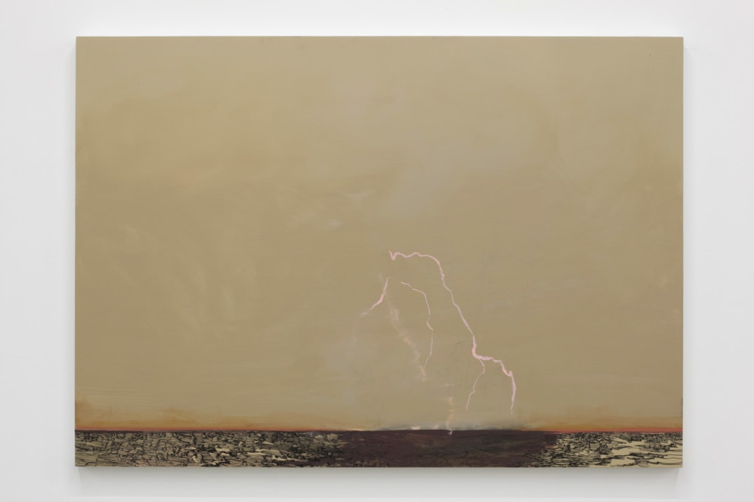 Untitled Lightning (Inside/Out), 2011, Ink and oil on panel, 34