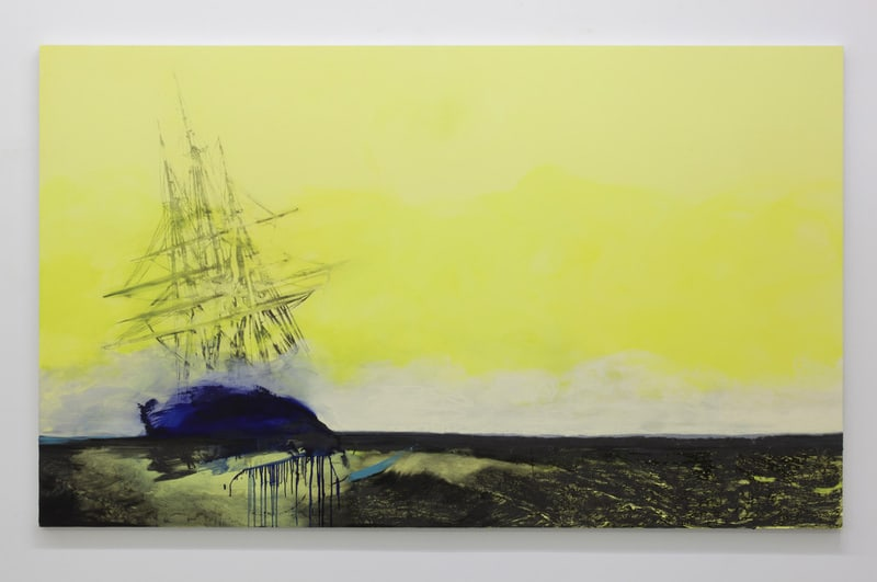 Untitled (Radiant), 2011, Ink and oil on panel, 6' x 10'