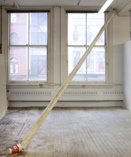 "Trickle Down, 2009, Cast 100 yr old cedar gutter made from: toilet paper, starch, metal stud, 7-Eleven double gulp cup, 22' long x 4"" wide and 6"" high"