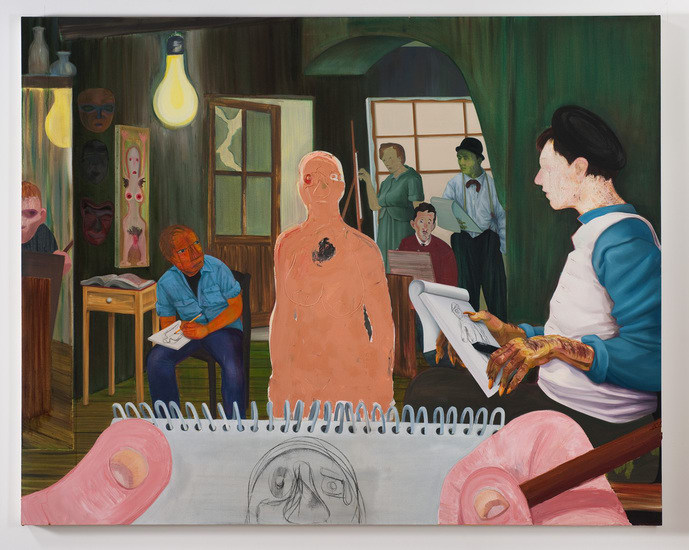 "The Drawing Class, 2011, Oil and charcoal on canvas, 82"" x 65"""