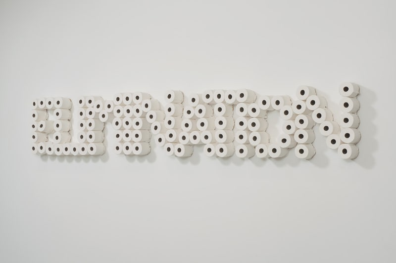 "The Ontogenesis of the Interest in Money by Sandor Firenczi, 2011, Toilet paper, plaster and melamine, 24"" x 124"" 6"""
