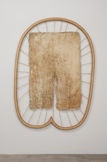 "Extend, 2011, Wood, book binding thread, leather and latex paint peel from kitchen table, 82"" x 60"" x 1 1/2"""