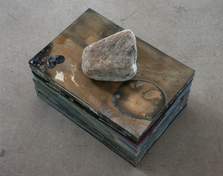 "* |_|_|_|_|_|_|_|_|_|_, 2011, Remnants, urethane, pigment, stone, 20 panels, 19 1/8"" x 13 1/8"" each, 13"" high"