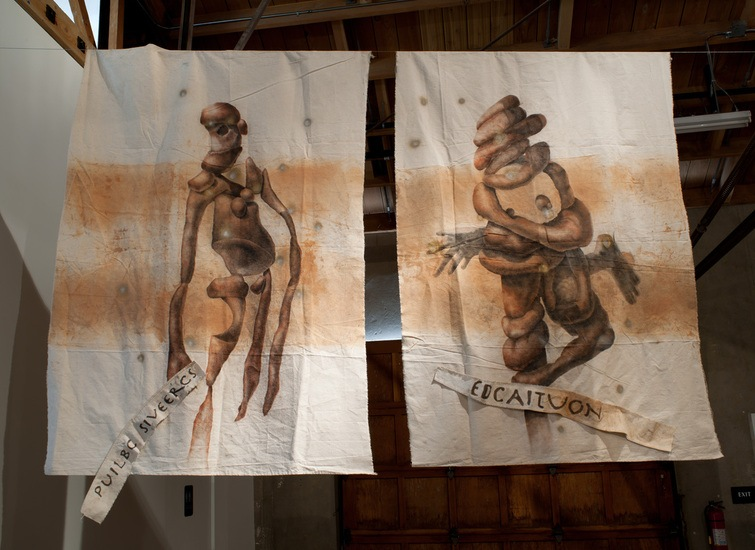 The Gods of Detroit, 2010, Clay, charcoal, enamel on unstretched canvas, 108 x 68 each
