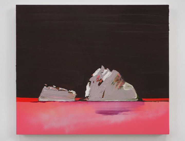 pink icebergs/ dark sky, 2010, ink and oil on panel, 22