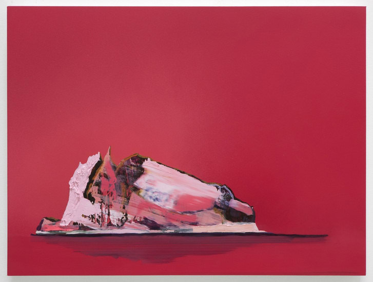 Untitled Pink Iceberg (Liebling), 2010, Ink and oil on panel, 18