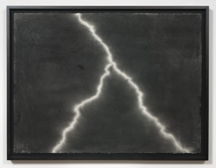 ": Beach Blanket Blues - Lighting #23, 2009, Charcoal on paper, 22""H x 30""W paper size; 24 1/2""H x 32 1/4""W frame size"
