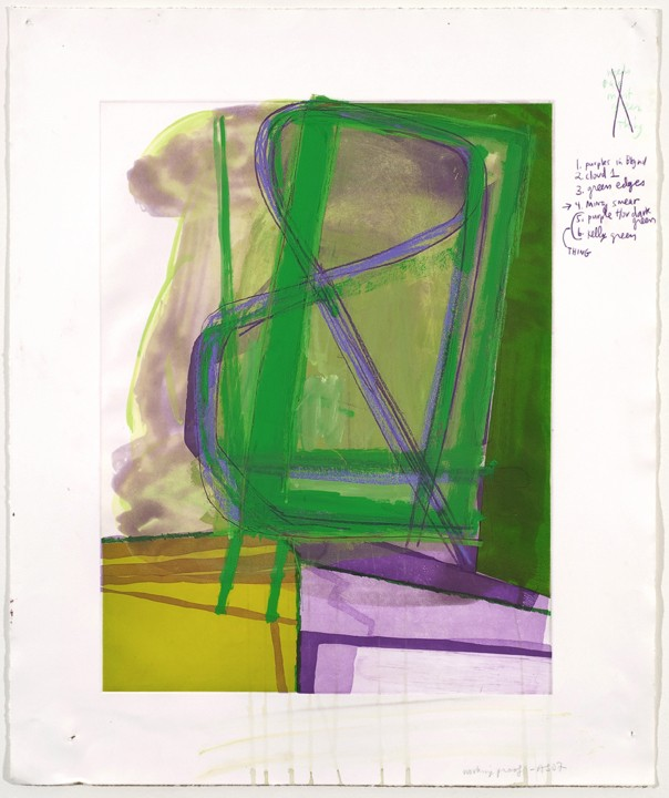 ": Untitled (#10), 2007, Gouache and colored pencil on etching on paper, 34"" x 28"" paper size; 36 ½"" x 30 ½"" framed"