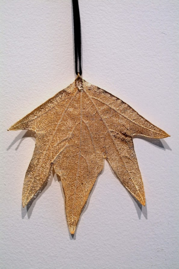 : Golden Leaf Pendants, 2007, 24 karat gold and Sycamore leaves, variable