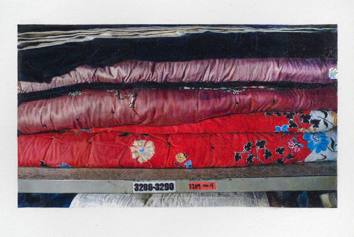 : Still Life of The AIDS Memorial Quilt in Storage (Blocks 3286-3290), 2007, colored pencil on paper, 6' x 3' (183.5 cm x 92 cm)