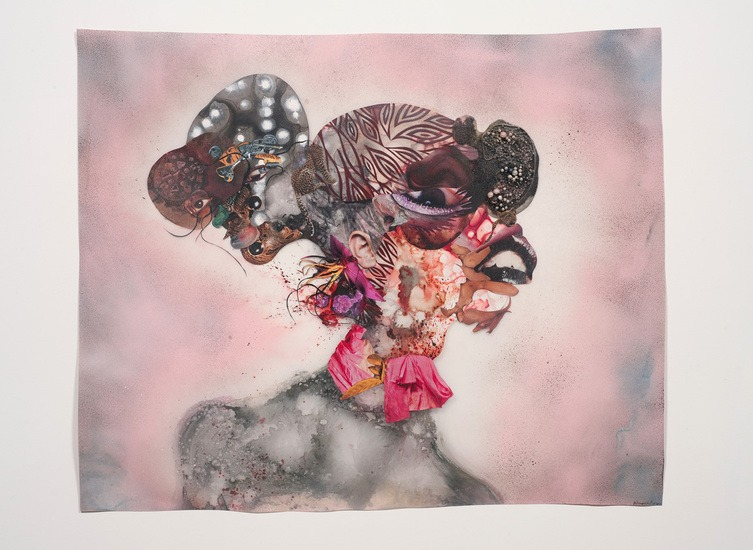Pretty Double-Headed, 2010, Mixed-media, ink, collage, spray paint on Mylar, 34