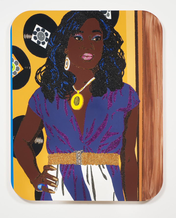 "Portrait of Qusuquzah #3, 2010, Rhinestones, acrylic and enamel on wood panel, 60"" x 48"""