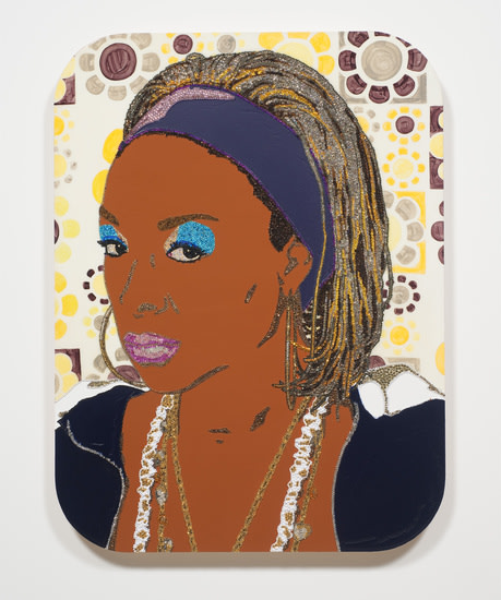 "Portrait of Lady Blue #2, 2010, Rhinestones, acrylic and enamel on wood panel, 48"" x 36"""