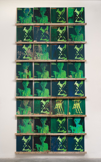 "X's and O's, 2009, Acrylic on scrap wood, 104"" x 51"" x 2"" (32 records, 12"" x 12"" each on 8 shelves)"