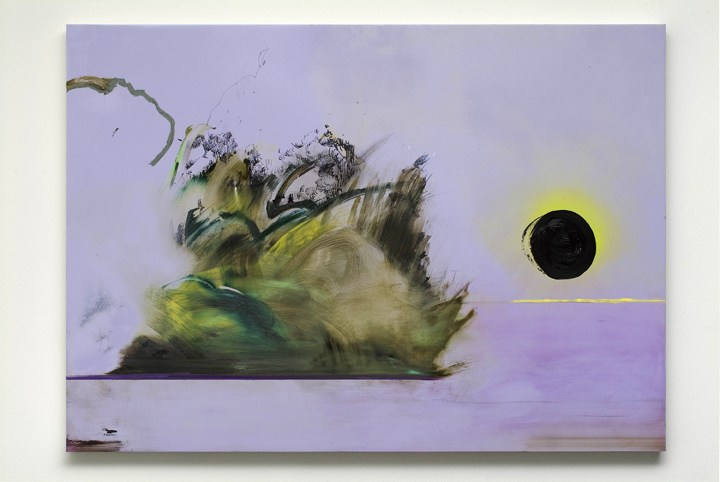 Untitled (black sun), 2009, Oil and ink on panel