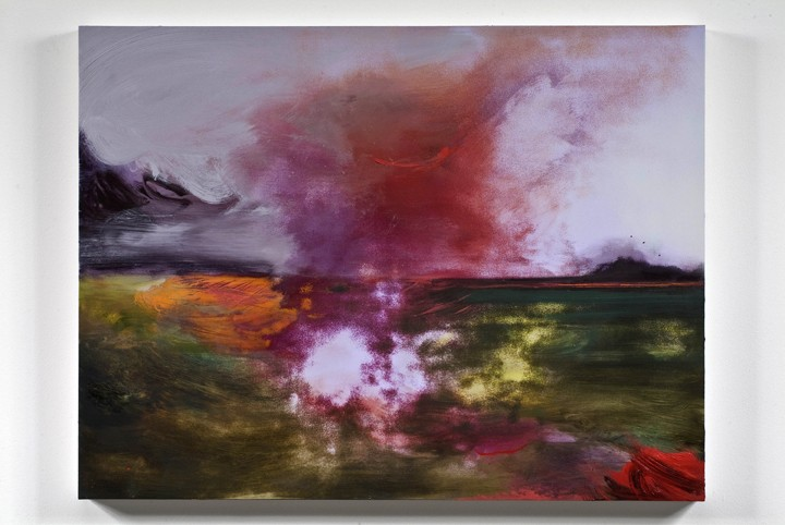 untitled landscape (backward/forward), 2009, Oil and ink on panel, 28