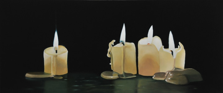 "Four Bee's Wax Candles (Version 1), 2008-09, Oil on panel, 8""H x 19""W"