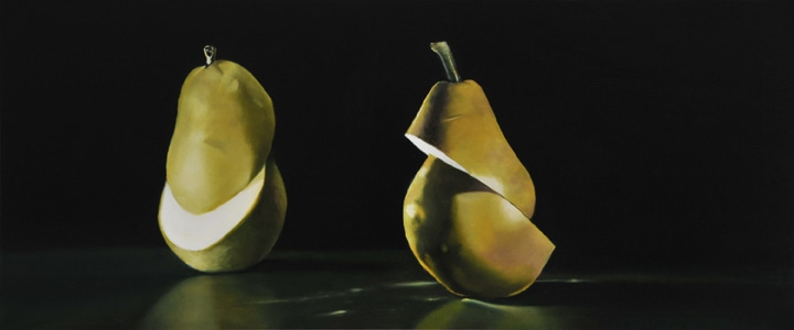 "Double Ellipse, Bartlett and Anjou Pear, 2009, Oil on panel, 8""H x 19""W"