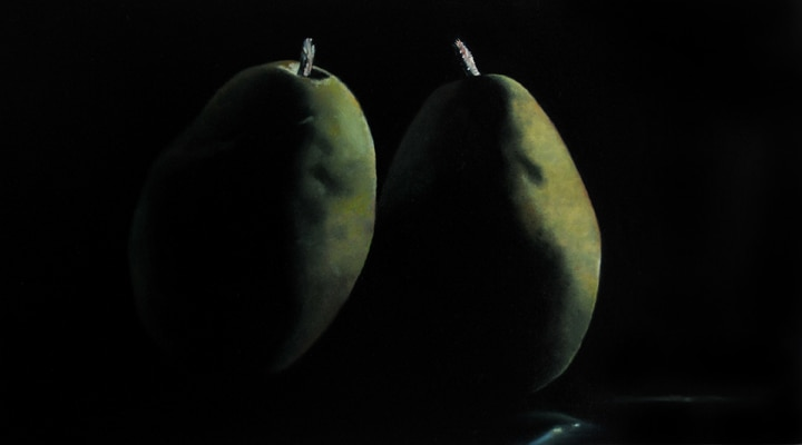 "Two Pears from the Glendale Farmer's Market, 2009, Oil on panel, 9""H x 16""W"