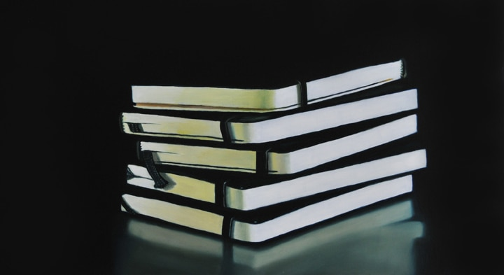 "Stack of Notebooks, Thoughts and Images, 2009, Oil on panel, 9""H x 16""W"
