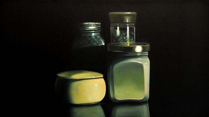 "Mustard, Salt, Oregano and Pepper on the Edge of the Table, 2008, Oil on wood panel, 9""H x 16""W"