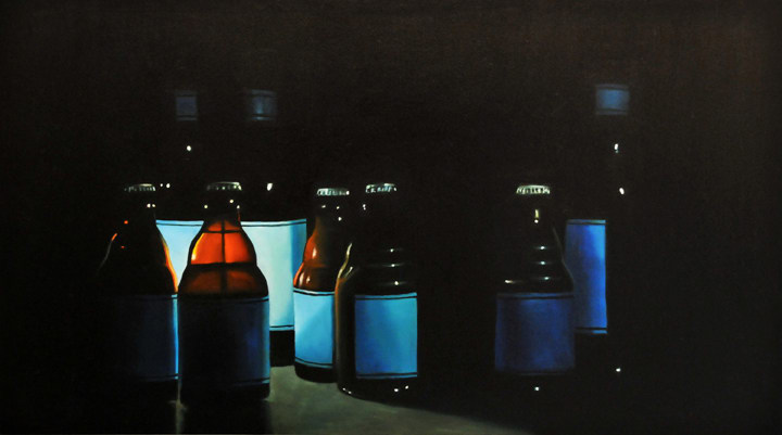 "Eight Blue Bottles, 2008, Oil on wood panel, 9""H x 16""W"