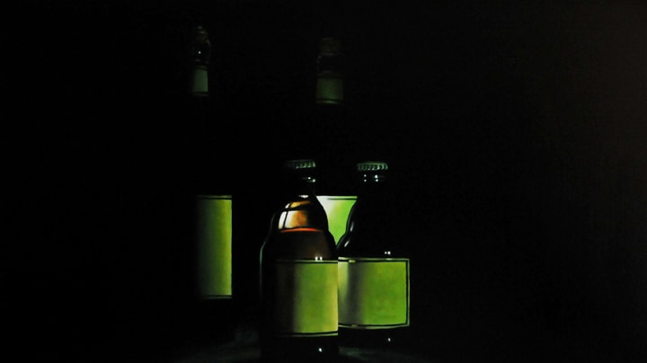 "Four Green Bottles, 2008, Oil on wood panel, 9""H x 16""W"