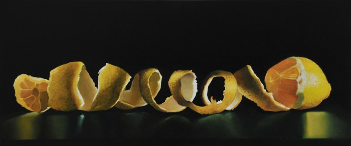 "Lemon with a Very Long Rind, 2009, Oil on panel, 8""H x 19""W"
