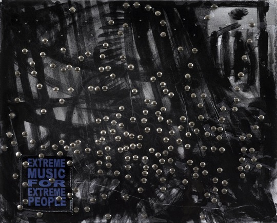 "Extreme Music: Black Metal, 2009, Acrylic on canvas, thumbtacks, patch, 16"" x 20"""