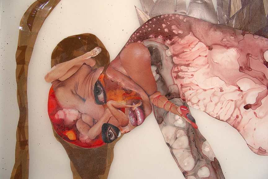 "the naughty fruits of my evil labor, 2005, Ink, acrylic, collage, contact paper, packing tape on mylar, 80 1/2"" x  42 12"""