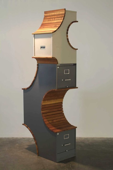 "Fortress, 2004, File cabinets, redwood, 80"" x 30"" x 20"""