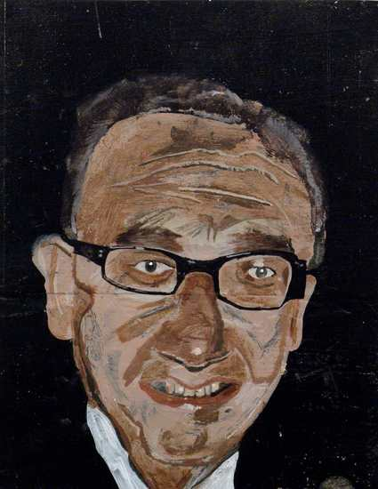 "Dr. Kissinger, 2003, Acrylic on wood panel, 13 3/4"" x 11"""