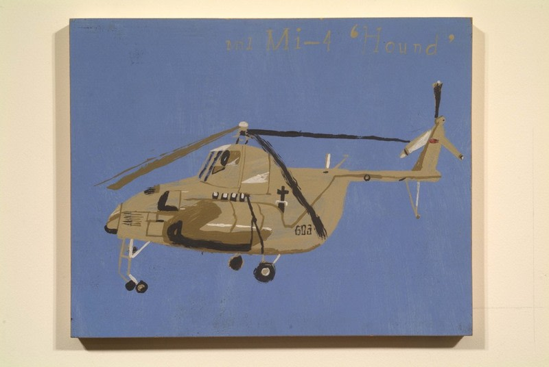 "MIL MI-4 HOUND, 2002, Acrylic on wood panel, 11"" x 13 3/4"""