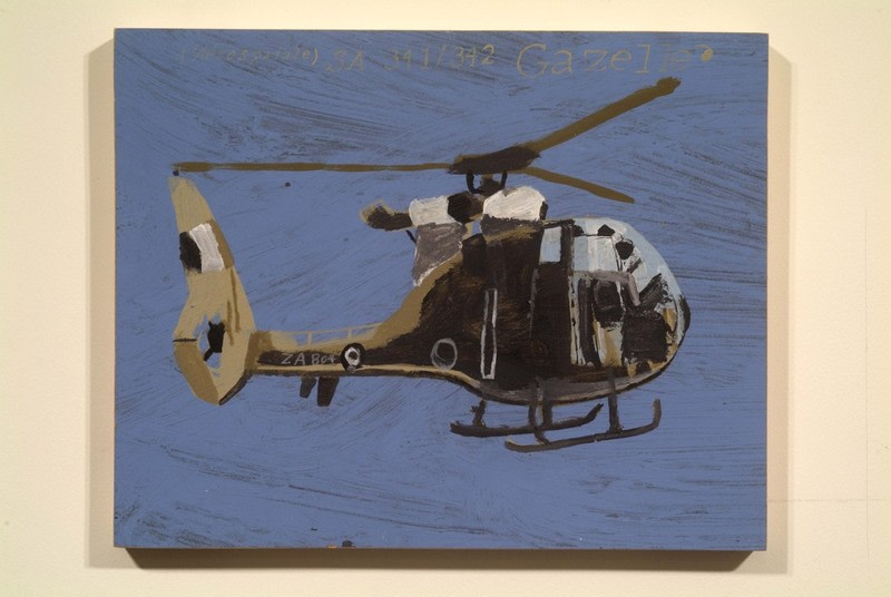"SA 341 - 342 GAZELLE, 2002, Acrylic on wood panel, 11"" x 13 3/4"""