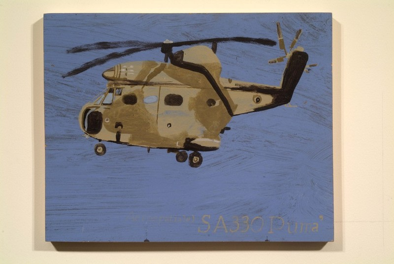 "SA 330 PUMA, 2002, Acrylic on wood panel, 11"" x 13 3/4"""