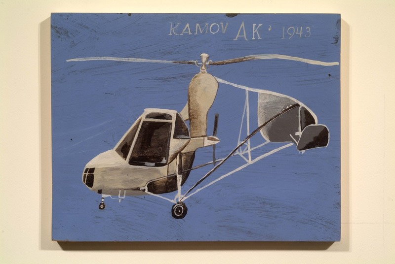 "KAMOV AK 1943, 2002, Acrylic on wood panel, 11"" x 13 3/4"""