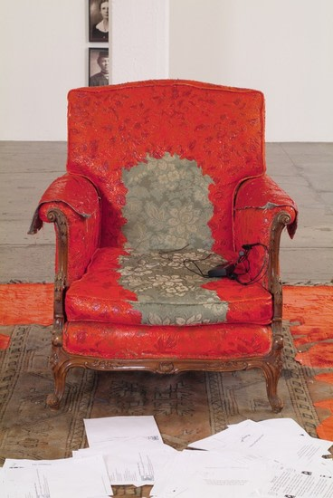 Untitled, 2008, Found chair, found carpet, latex paint, acrylic, paper vaulted ceiling, dimensions variable (detail), ArtPace San Antonio