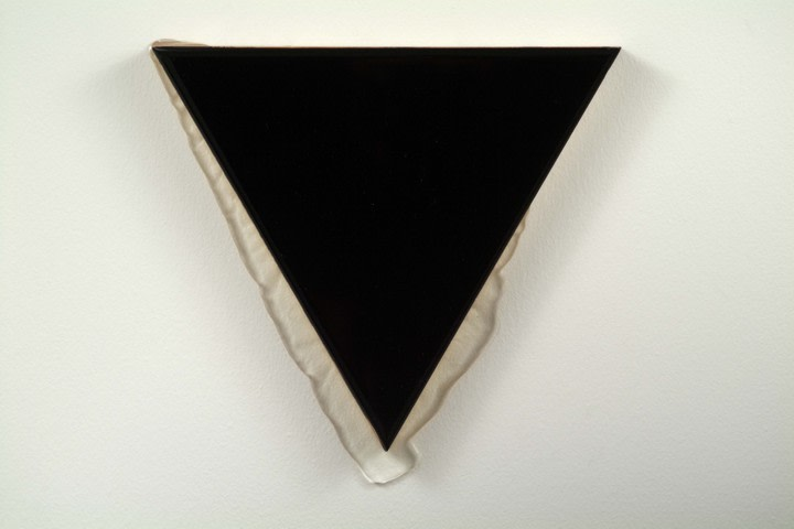 Untitled, 2006, Mixed media, liquid glass on panel, triangle, leg length 12 in.