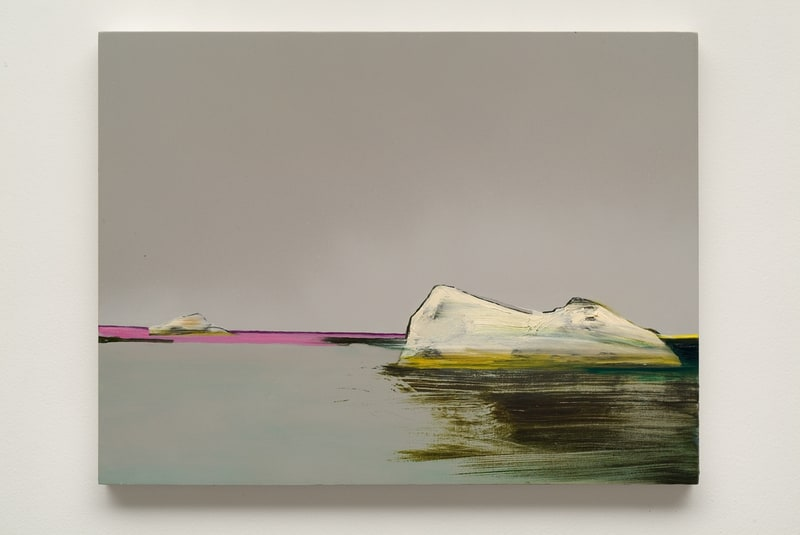Untitled Iceberg (Grey/Gray), 2008, Ink and oil on panel, 18