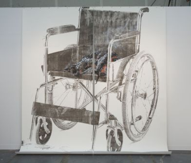 Untitled (Wheelchair Drawing), 2006, Carbon transfer on paper, charcoal, oil paint, wooden frame, 124