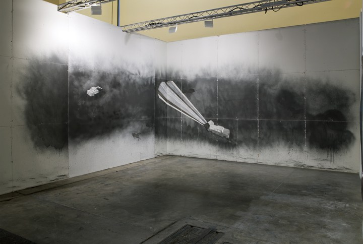 Number of Intersections, Exercise #51, 2008, Graphite, charcoal, carbon on drywall, Wall Dimensions 39'6, ArtBasel Miami