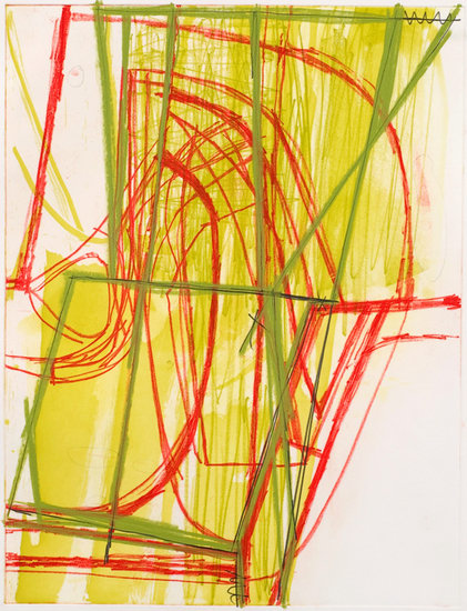 "Untitled (#15), 2008, Gouache, chalk and pencil on etching on paper, 34"" x 28"" paper size"