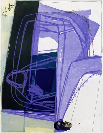 "Untitled (#19), 2008, Gouache, chalk and pencil on etching on paper, 34"" x 28"" paper size"