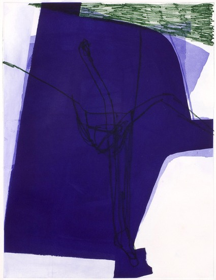 "Untitled (#23), 2008, Gouache, chalk and pencil on etching on paper, 34"" x 28"" paper size"
