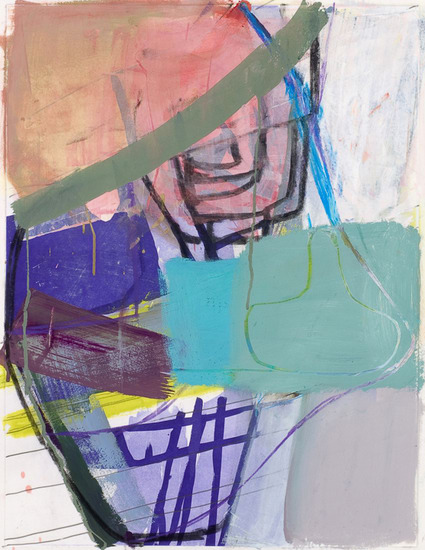 "Untitled (#3), 2008, Gouache, chalk and pencil on etching on paper, 34"" x 28"" paper size"