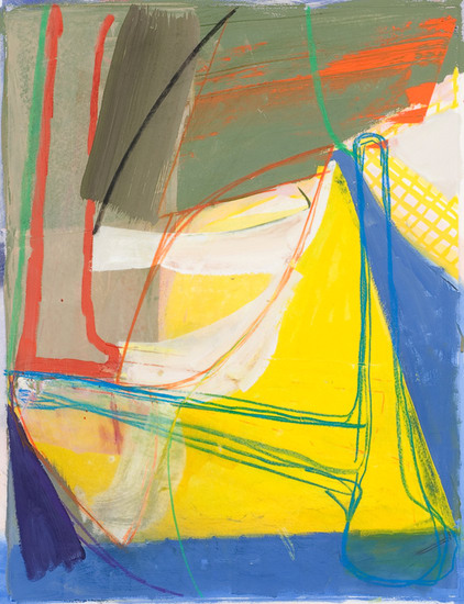 "Untitled (#2), 2008, Gouache, chalk and pencil on etching on paper, 34"" x 28"" paper size"
