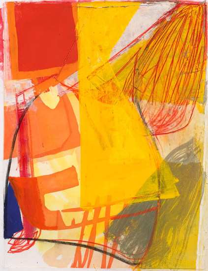 "Untitled (#1), 2008, Gouache, chalk and pencil on etching on paper, 34"" x 28"" paper size"