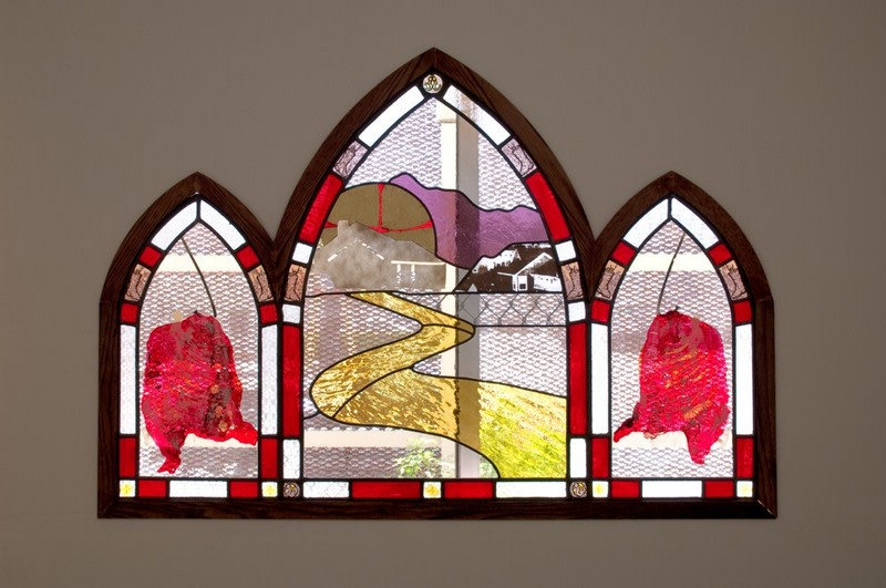 "Bootstrap, 2008, Stained glass, silkscreen, gold leaf, wood, 45"" x 65"""